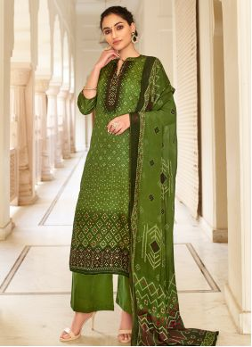 Fancy Fabric Green Palazzo Designer Salwar Kameez