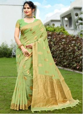 Fancy Fabric Green Woven Traditional Designer Saree