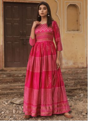 Fancy Fabric Hot Pink Fancy Designer Gown