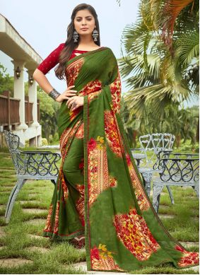 Fancy Fabric Multi Colour Abstract Print Saree