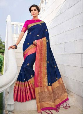Fancy Fabric Navy Blue Embroidered Trendy Saree