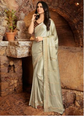 Fancy Fabric Off White Embroidered Contemporary Saree
