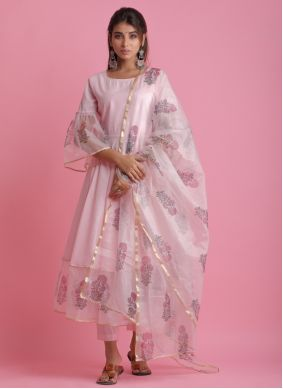 Fancy Fabric Pink Block Print Readymade Suit