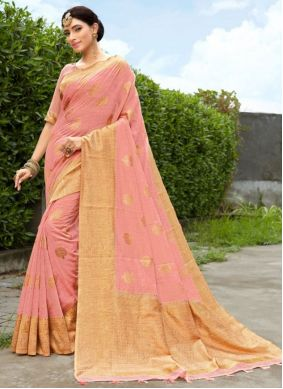 Fancy Fabric Pink Woven Designer Traditional Saree