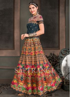 Fancy Fabric Print Multi Colour Designer Gown