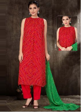 Fancy Fabric Print Readymade Suit in Red