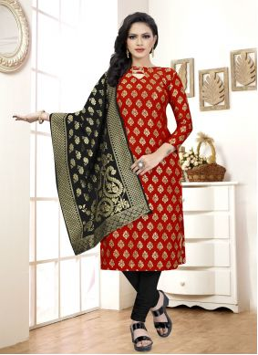 Fancy Fabric Red Churidar Suit