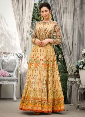 Fancy Fabric Resham Beige Designer Gown