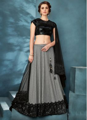 Fancy Fabric Sequins Trendy Lehenga Choli in Black