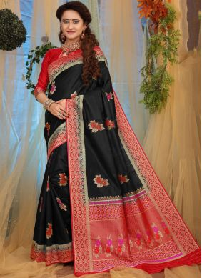 Fancy Fabric Traditional Designer Saree in Black