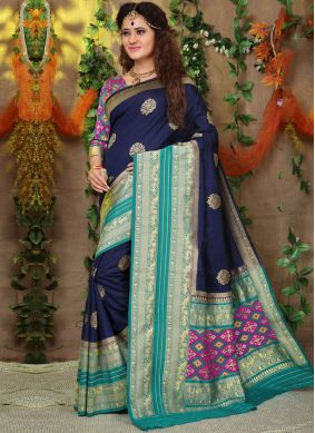 Fancy Fabric Traditional Saree in Navy Blue