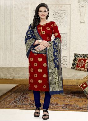 Fancy Fabric Weaving Churidar Suit in Red
