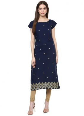 Fancy Faux Crepe Casual Kurti in Blue