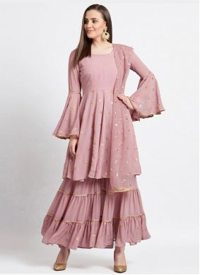 Fancy Faux Georgette Readymade Suit in Pink