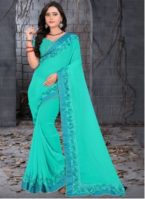 Blue Fancy Faux Georgette Trendy Saree