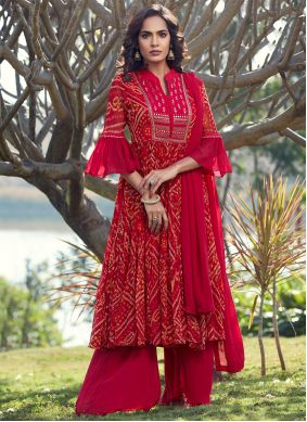 Fancy Georgette Pink and Red Readymade Suit