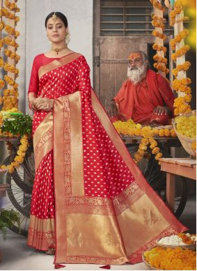 Fancy Jacquard Silk Traditional Designer Saree in Red