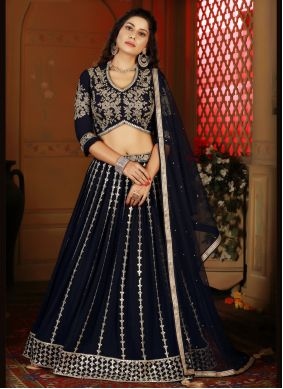 Fancy Navy Blue Readymade Lehenga Choli