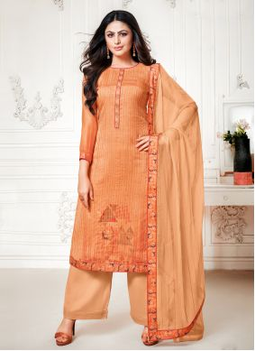 Orange Fancy Palazzo Designer Salwar Suit