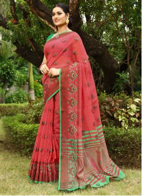 Fancy Pink Linen Traditional Saree