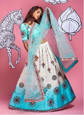 Fancy Satin Silk A Line Lehenga Choli in Off White and Turquoise
