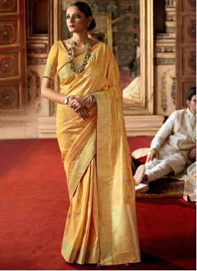 Fancy Yellow Traditional Saree