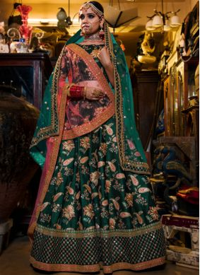 Fantastic Tafeta Silk Sea Green Aari Lehenga Choli