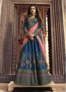 Fascinating Blue Mehndi Designer Lehenga Choli