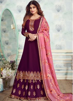 Fashionable Georgette Brown Embroidered Designer Salwar Kameez