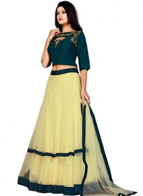Fashionable Yellow Embroidered A Line Lehenga Choli