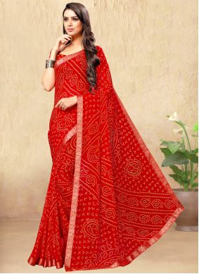 Faux Chiffon Casual Saree in Red
