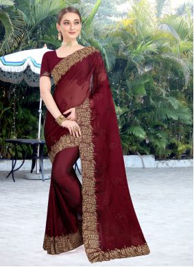 Faux Chiffon Embroidered Burgundy Designer Traditional Saree