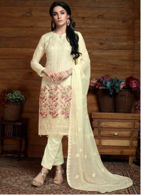 Faux Chiffon Embroidered Cream Salwar Kameez