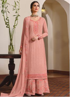 Faux Chiffon Embroidered Designer Palazzo Salwar Kameez in Pink