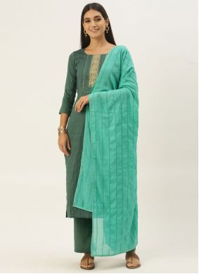 Faux Chiffon Embroidered Green Pant Style Suit