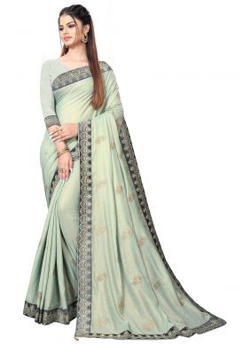 Faux Chiffon Embroidered Grey Trendy Saree