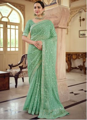 Faux Chiffon Embroidered Traditional Saree in Green