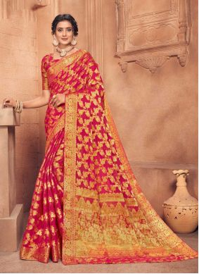 Faux Chiffon Fancy Red Traditional Designer Saree