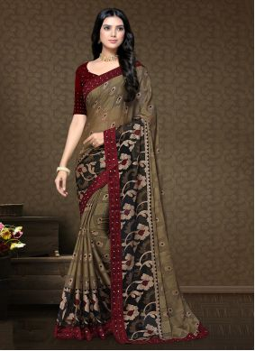 Brown Faux Chiffon Festival Classic Saree