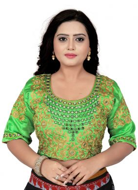 Faux Chiffon Green Embroidered Designer Blouse