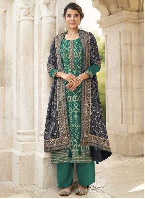 Faux Chiffon Green Embroidered Designer Palazzo Salwar Suit