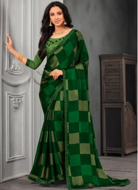 Faux Chiffon Green Lace Designer Saree