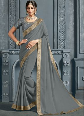 Faux Chiffon Grey Patch Border Traditional Saree