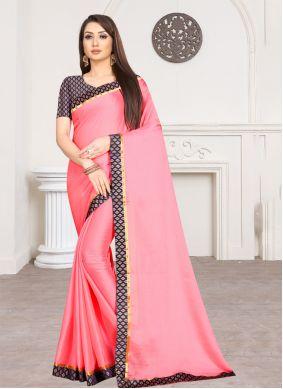 Faux Chiffon Lace Pink Trendy Saree