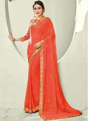 Faux Chiffon Orange Stone Trendy Saree
