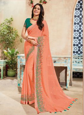 Faux Chiffon Peach Embroidered Trendy Saree