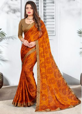 Faux Chiffon Printed Brown Casual Saree