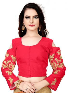 Faux Chiffon Red Embroidered Designer Blouse