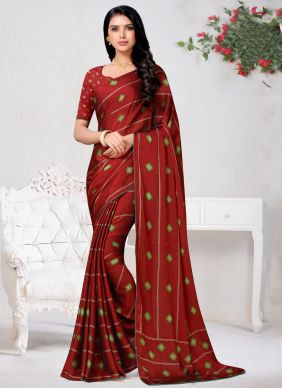 Faux Chiffon Red Print Traditional Saree