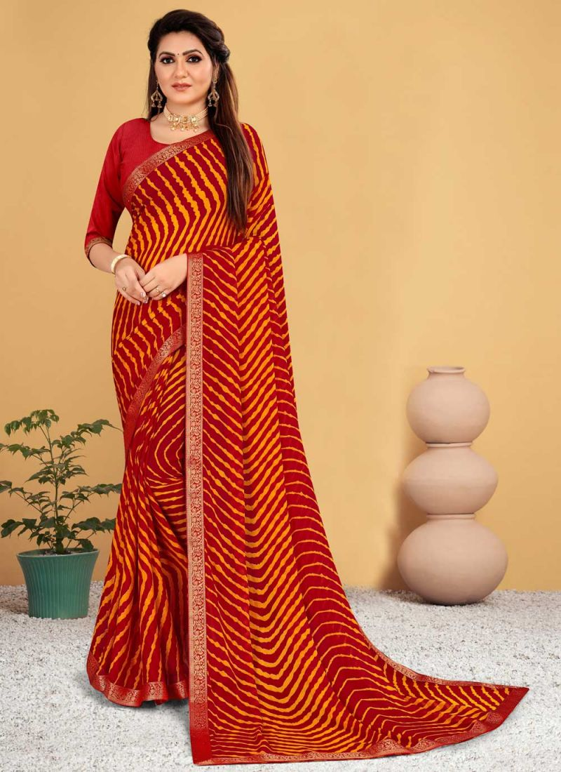 Faux Chiffon Shaded Saree in Orange and Red